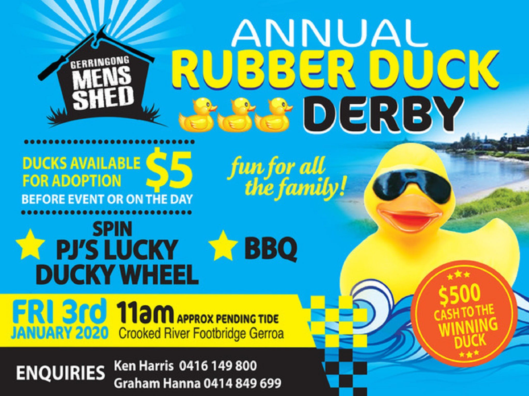 Gerringong Mens Shed Annual Duck Derby - Accommodation Batemans Bay