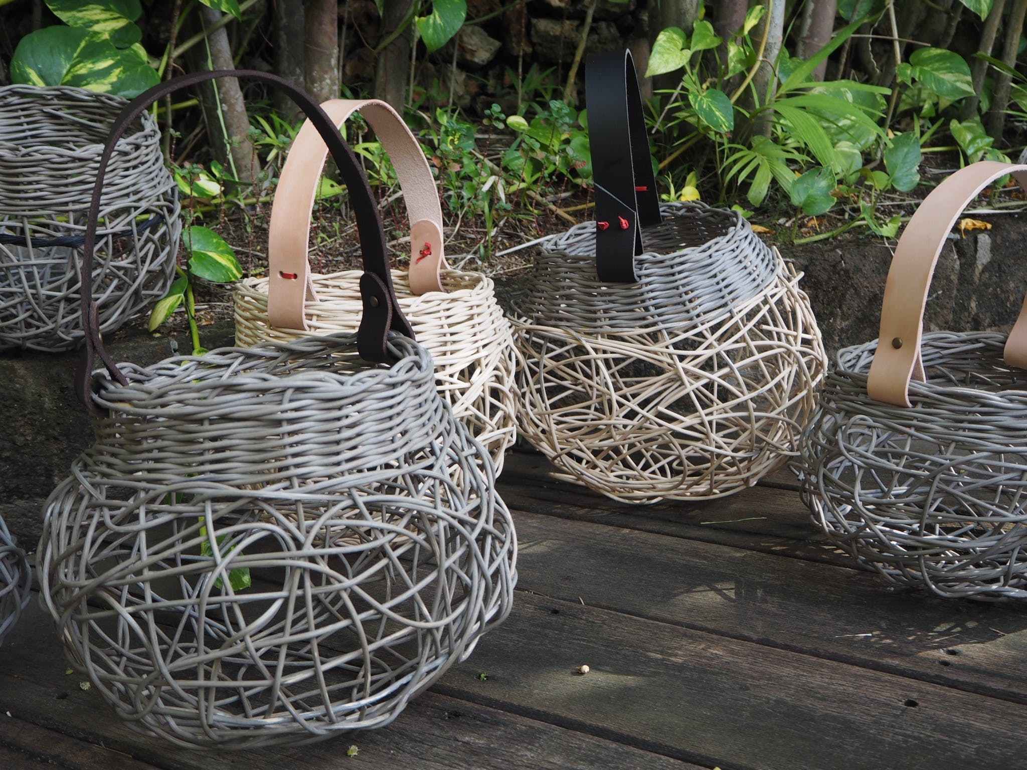 Weaving Woven Basket with Leather Handle - Accommodation Batemans Bay